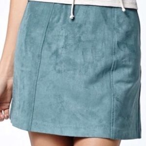 Kendall & Kylie Faux Suede Green Skirt XS